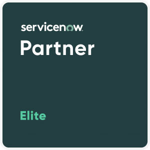 A Badge showing ServiceNow Elite Partner Status